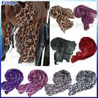 New Girls Women's Soft Leopard Print Crinkle Shawl Scarf Long Stole