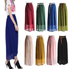 New Sexy Elegant Chiffon Pleated Long Maxi Skirt Elastic Waist Band Dance Dress