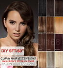 "19"" 5FT (60"") DIY Weft Clip in Human Hair Extensions"