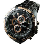 Mens Water Resistant Dial Clock Sport Stainless Steel Quartz Wrist Watch B50U