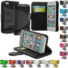 For iPhone 5 5G Credit Card Holder ID Wallet Leather Case Cover Flip Stand Pouch