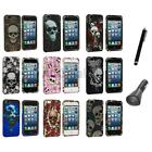 For iPhone 5 5G Skulls Design Color Hard Snap-On Rubberized Case+Charger+Pen