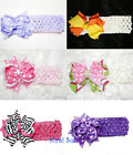 Baby Girls Lavender Pink Yellow White Polka Dots Zebra Hair Bow Crochet Headband