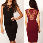 Fashion Women Lace Sleeveless Backless Bodycon Dress Party Evening Mini Dress AC