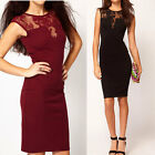 Sexy Womens See-through Sleeveless Lace Evening Party Clubbing Slim Mini Dress