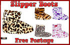 LADIES SLIPPERS BOOTS COSY GIRLS WARM FUR ANKLE BOOTIE SHOE SIZE 3/4 5/6 7/8
