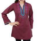 Ladies Indian Kurta Tops-Long Sleeve Embroidered Kurti Top-Maroon
