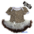 Baby Brown White Leopard Tutu Bodysuit Romper Pettiskirt Bow Headband 2pcs 0-18M