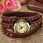 Women Retro Long Strap Roman Dial Mosaic Rivets Stud Leather Quartz Wrist Watch