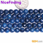 Round Faceted Blue Agate Stone Beads For Jewelry Making Gemstone 15'' 6,8,10mm