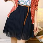 New Gilrs High Waist Pleated Chiffon Short Mini Skirt & Belt SFCA