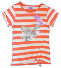 Girls Tesco F&F Sequin Dove Knotted Waist Striped T-Shirt Top 5-14 yrs NEW