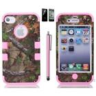 For iPhone 4 4S Hybrid Rugged Rubber Matte Hard Case Cover w  Screen Protector