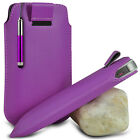 PURPLE POUCH PULL TAB CASE COVER W/ RETRACTABLE STYLUS PEN FOR VARIOUS PHONES
