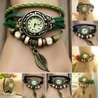 Women Lady Girls Quartz Weave WRAP Around Leather Bracelet Wrist Watch 6 Colors