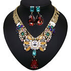vintage antique style gold gp rhinestone glass crystal necklace earrings set