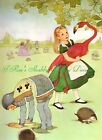 Sweet Alice In Wonderland Flamingo Croquet Green Fabric Block 5x7 or 8x10