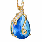 Wedding Jewelry Pear Cut Yellow Gold Plated Pendant Necklace