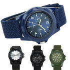 Unisex Army Green Black Canvas Band Waterproof Wristwatch Quartz Wrist Watch B41