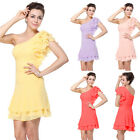 One Shoulder Chiffon Short Mini Bridesmaid Dress Party Cocktail Prom Gown 03645
