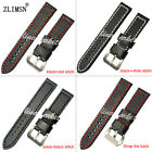 20 22 24mm New MENS White Red stitched Black Leather Watch Band Strap Bracelets