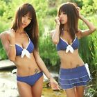 Lady Push Up Padded 3 Pieces Bikini Set Bra Skirt Swimwear Swimsuit US S M L