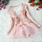Pink Girl Outfit Jacket Tutu Top Dress Toddler Party Pageant Pearl Flower SZ 3-6