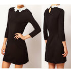 Chic Womens Elegance Peter Pan Lace Collar Slender 3/4 Sleeved Mini OL Dress