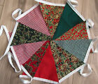 Christmas Handmade Fabric Bunting 2 designs -2 lengths 40ft-20ft Free post