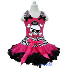 Halloween Zebra Hot Pink Black Pettiskirt Pirate Tank Top 2pc Party Dress 1-7Y