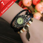 Quartz Vintage Weave WRAP Around Leather Bracelet Lady Woman Watch