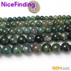 "Natural Stone Round Moss Agate Beads Gemstone Strand 15"" 2mm 4mm 6mm 8mm 10mm"