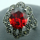 RARE 925 STERLING SILVER FACETED RED RUBY MARCASITE JEWELRY RING SZ 7/8/9/10