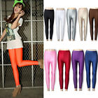 Neon Candy Shiny Bright Fluorescent Glow Stretch Tights Leggings Pants 14 Colors