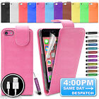 LEATHER FLIP CASE COVER POUCH WALLET FOR APPLE IPHONE 5C + FREE CHARGER CABLE