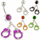crystal belly bar dangle navel ring button jewellery handcuff piercing 9HJP