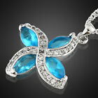 Costume Jewellery Marquise Cut White Gold Plated Pendant Necklace