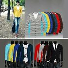 Mens Candy Color Casual V-neck Sweater Blazer Jackets  Botton Knit Cardigan Coat