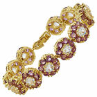 Women Gift Rhinestone Round Cut Tennis Statement Gold Plated Fashion Bracelet
