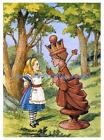 Vintage Print Repro Alice In Wonderland w Chess Queen Fabric Block 5x7 or 8x10