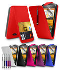 FLIP LEATHER CASE + RECTRACTABLE STYLUS + SCREEN PROTECTOR FOR HTC DESIRE C