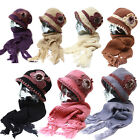 Soft Faux Fur Leaf Applique Fleece Lined Knitted Cloche Hat Scarf - Set - Combo