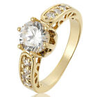 Women Jewelry Clear White Topaz Stone Gold Plated Engagement Ring Size M O Q