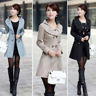 New Womens Slim Trench Double-Breasted Jacket Coat Outwear Black Size 8 10 12 O