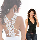 Freeshipping Embroidery Hollow Out Ruffle V-Neck Ladies Girls Sexy Tank Top Vest