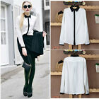 Celebrity Women Colour Block White Contrast Black Trim Collar Shirt Blouse
