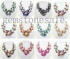 Nice Baroque 7 Shell Flower & Cultured Pearls necklace 10 color Statement Bib