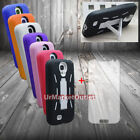 Rubber Phone Case Cover Hybrid Stand Samsung Galaxy S4 i9500 + Screen Protector
