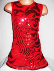 GIRLS 60s RED ORIENTAL FLORAL EMBROIDERED SEQUIN EVENING SHIFT PARTY DRESS