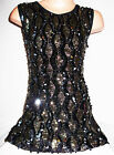 GIRLS 60s BLACK GOLD SILVER EMBROIDERED SEQUIN EVENING SHIFT PARTY DRESS